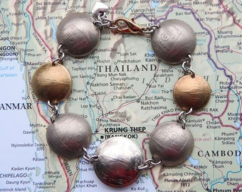 Thailand coin bracelet - curved - made of original coins - stupa - Asia jewelry