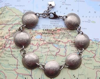 Venezuela coin bracelet - curved - made of original coins - South America - coin jewelry