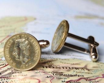 El Salvador coin cufflinks - 2 different designs - made of genuine coins from El Salvador - wedding gift - travel present