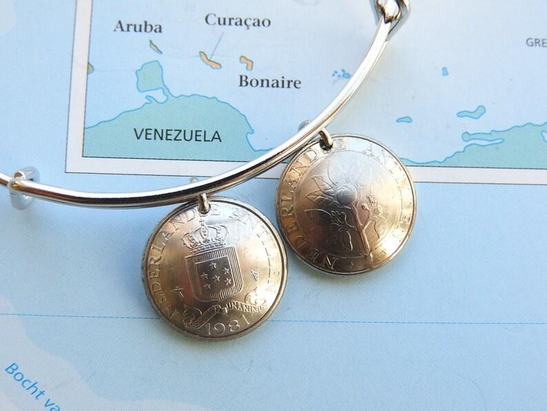 Lesser Antilles 3 different designs Bonaire  Curacao coin bangle bracelet Netherlands Antilles made of original coins