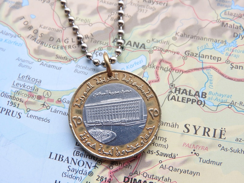 Syria coin necklacekeychain 6 different designs made of an genuine coin from Syria ancient ruines Euphrates dam Falcon of Qureish