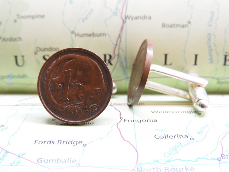3 different designs made with original coins from Australia Australia coin cufflinks