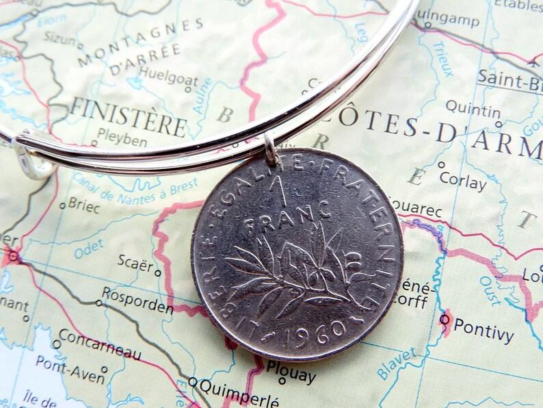 France 1 Franc Coin Birthyear Bangle Bracelet Etsy