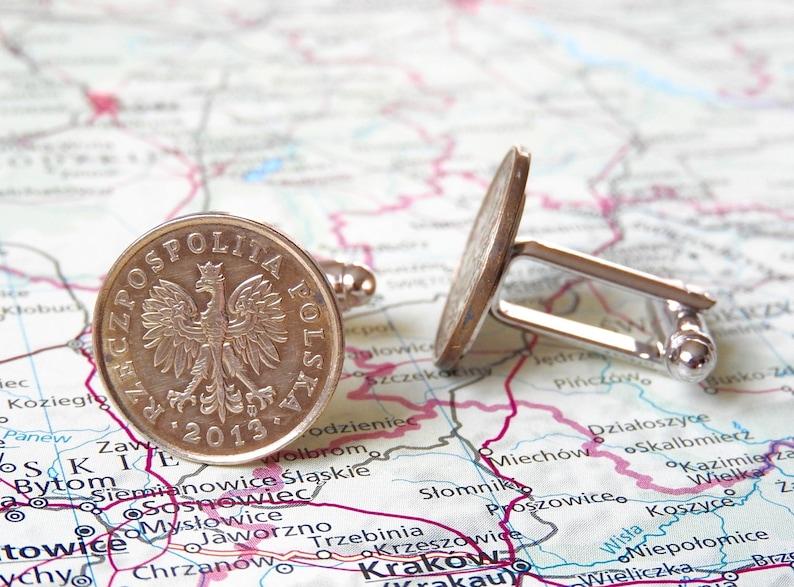 personalized cufflinks genuine coins 4 different designs Poland wedding cufflinks Polen coin cufflinks best man gift eagle