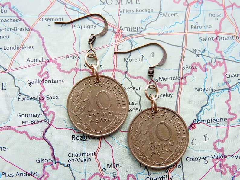 year earrings 1980198119821983198419851986198719881989199019911992199319941995199619971998 France 10 centimes coin birth