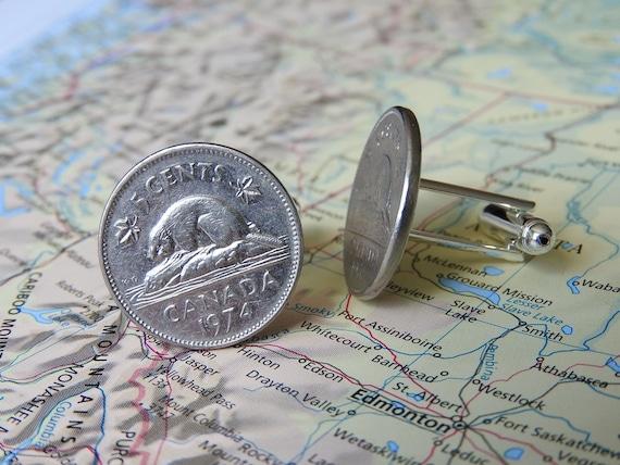 2 different designs made of original coins from Canada Canada deer  beaver coin cufflinks