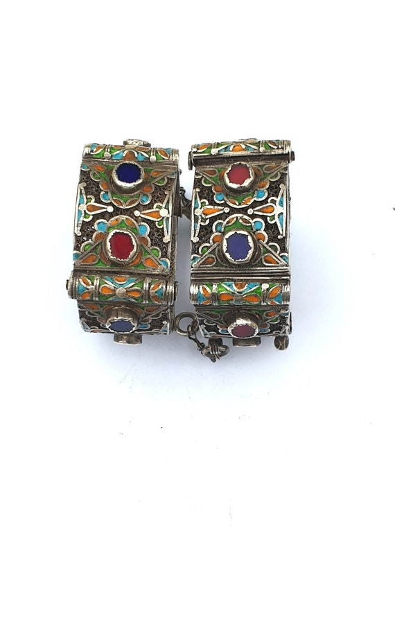 Morocco - Rare and old Pair of hinged bracelets ca