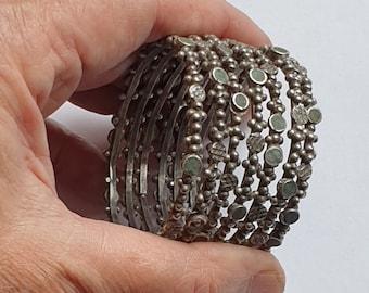 Morocco - set of 7 Moorish silver bracelets from Guelmim region gateway to the Sahara - southern Morocco
