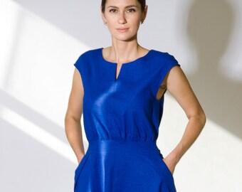 Linen Dress by TAVROVSKA, Elegant Blue Dress, Round Collar, Bright Blue Dress with Pockets, Linen Summer Dress, Cap Sleeve Dress