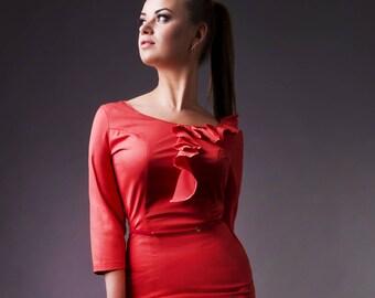 SALE, Red Coral Dress by TAVROVSKA, Long Sleeve Midi Pencil Dress
