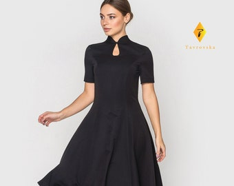 c5d9c3a63c55 Black Mandarin Dress, Cheongsam Keyhole Cocktail dress, Stand Collar flared  Dress, Asian japanese Chinese little black dress TAVROVSKA