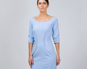 a2063640a7 Pink Crepe Boat neck Cocktail Dress Longsleeve Lined Midi