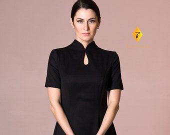 Black Mandarin neck Dress 48fe3145e7cd
