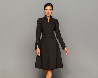 Black high neck midi dress women, Long sleeve structured wedding guest dress, Cocktail business fit and flare dresses for women TAVROVSKA