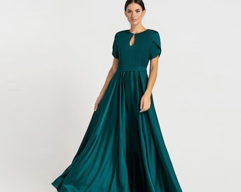 Long keyhole fit and flare dress, Green wedding guest dress, Maxi mother of the bride groom cocktail dresses for women TAVROVSKA