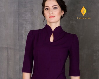 Elegant Purple Dress by TAVROVSKA, Stand Collar, Cocktail Dress, Vintage collar, Robe, Vestito