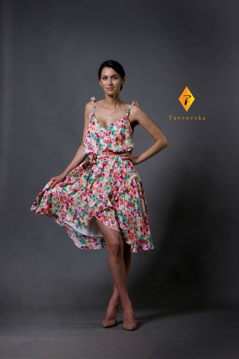 171abf07a28 Floral viscose flared strap dress Summer Chiffon Belted Wrap