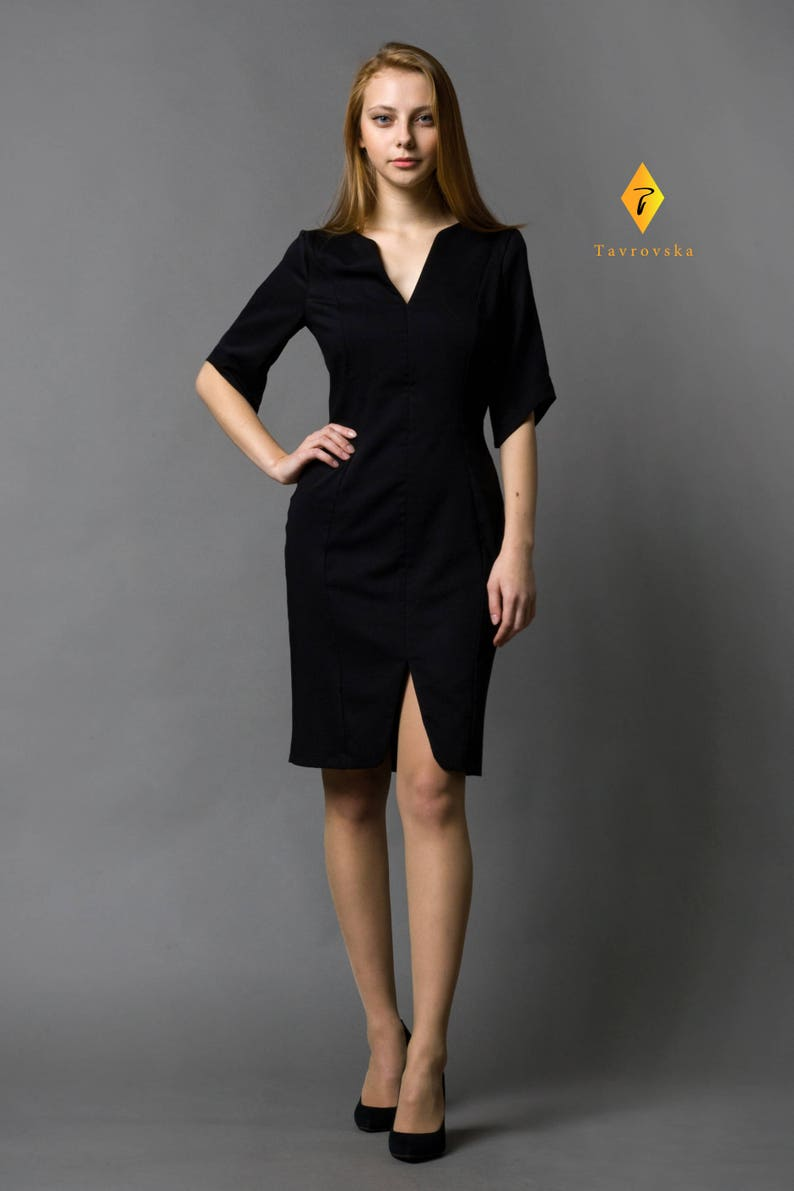 110ef3e55 Elegant Modest Little Black Dress, Business Japanese Style Belted v-neck  dress, Simple Office Casual Pencil midi front slit LBD, TAVROVSKA