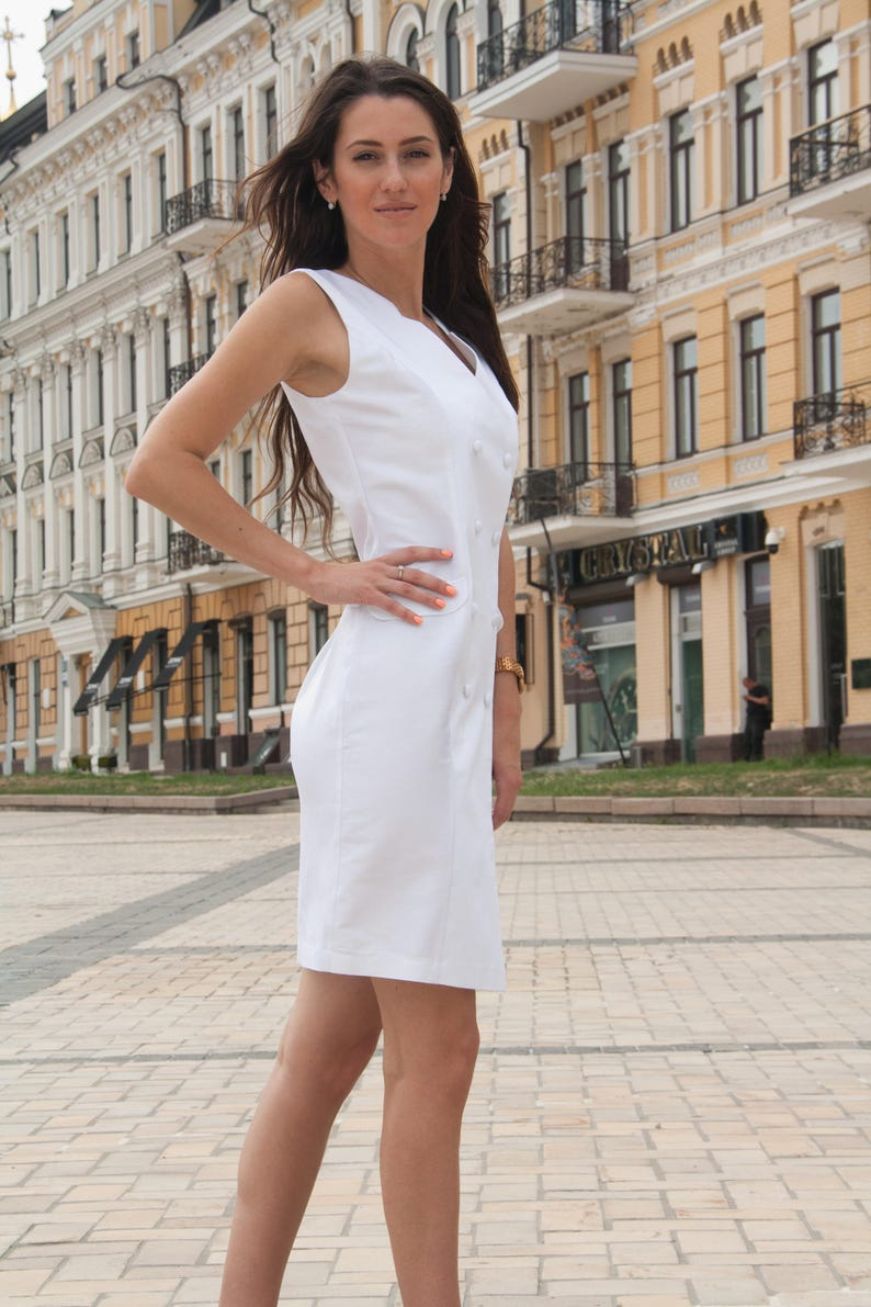 d2c9aa07f5fa White Cotton Double-breasted Dress Summer Office Casual