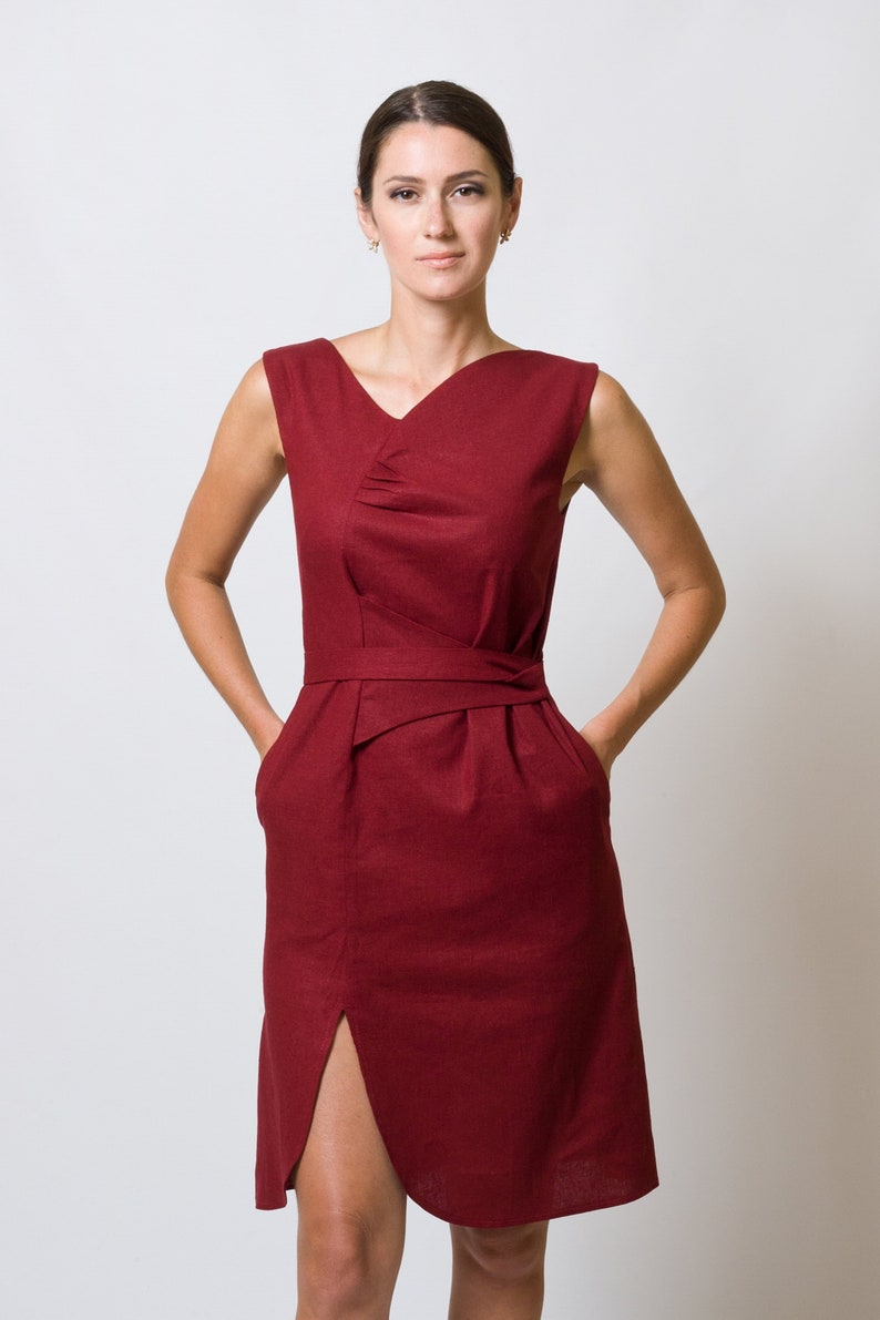 92c41530fd7 Red Summer Linen Dress with pockets Asymmetric Fitted