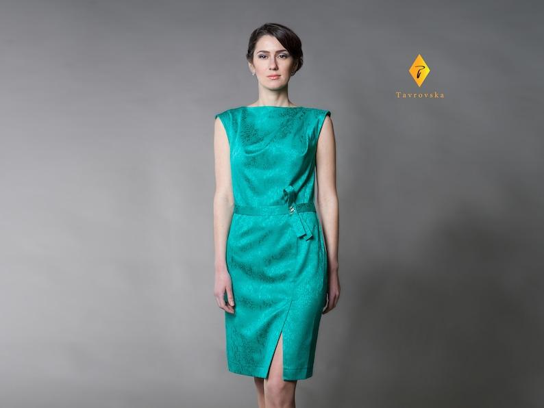 b0d4ed1e41f Emerald Green Cotton Summer Dress Modest Bridesmaid Mother