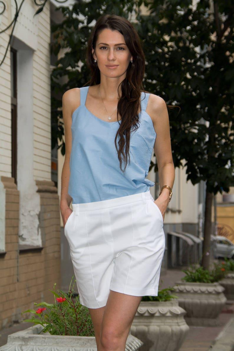 af826e61890 Sky Blue Cotton Top and White Cotton Shorts by TAVROVSKA