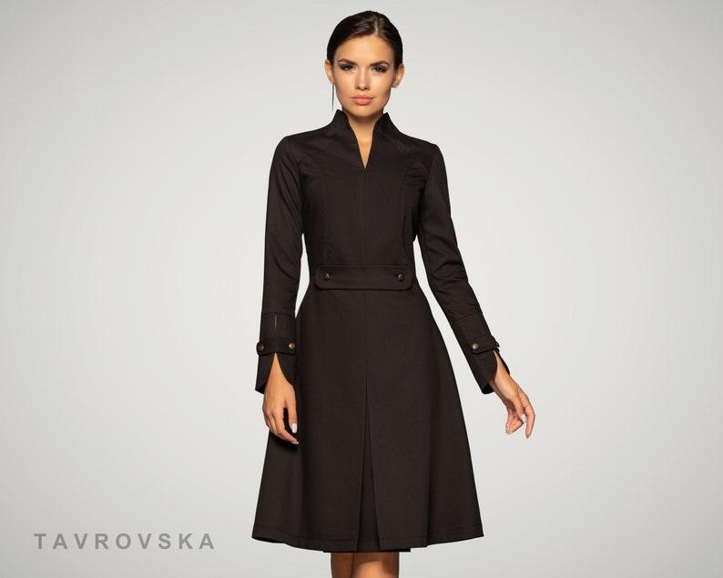 Black Cocktail Dress Midi Skater Long sleeve Party Bridesmaid image 0