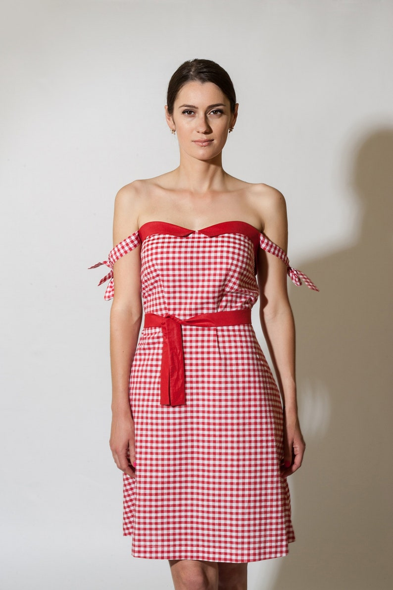 b28e5b0b2dc Red cotton summer dress Off the shoulder Mini sundress