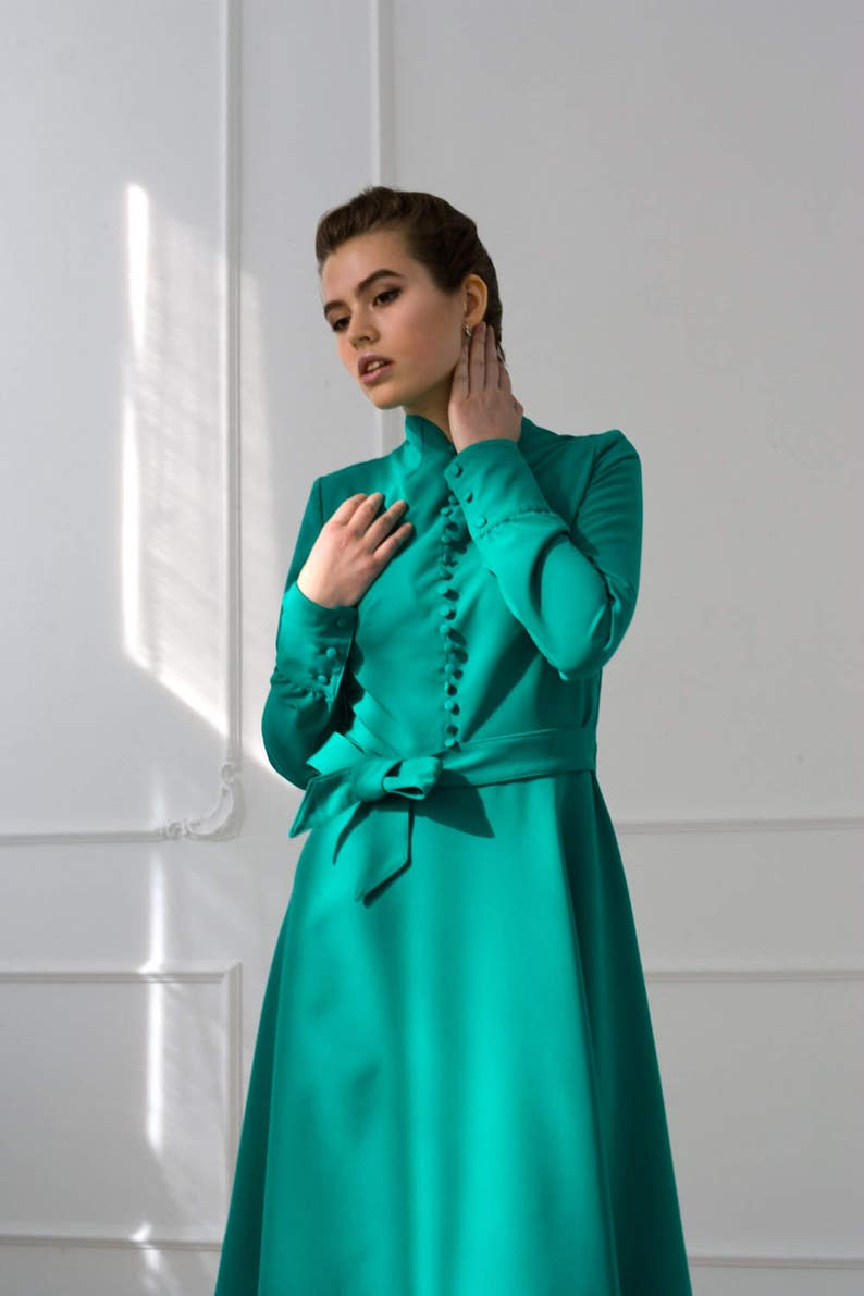 12434becd5a Emerald Green Modern Cheongsam Dress Bridesmaid cocktail