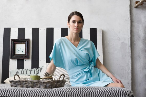 e7789d00d20 Wrap V-neck Kimono sleeves Woman Dress Lightweight Casual