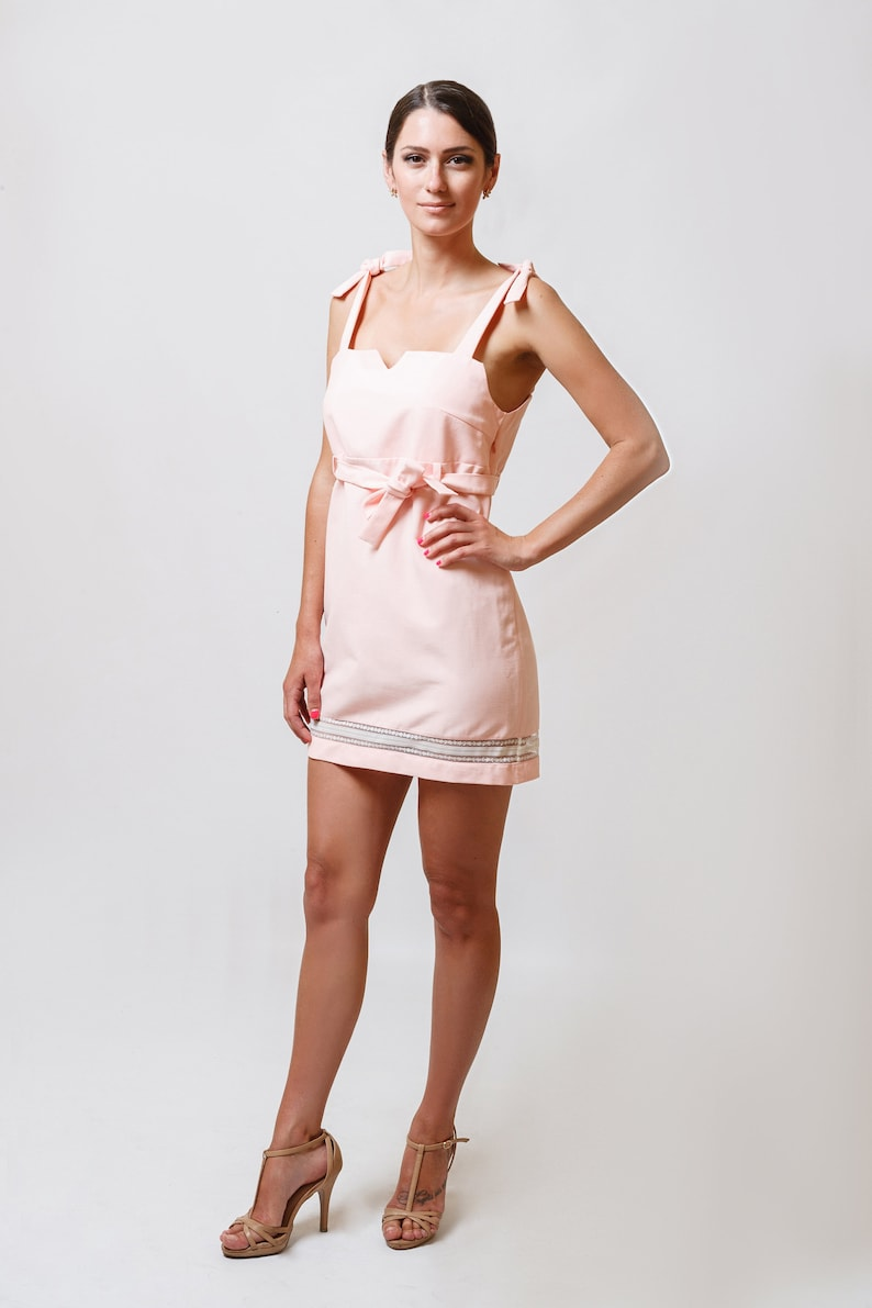 3a136b90e56 Pink cotton sleeveless fitted sundress Mini Summer Belted