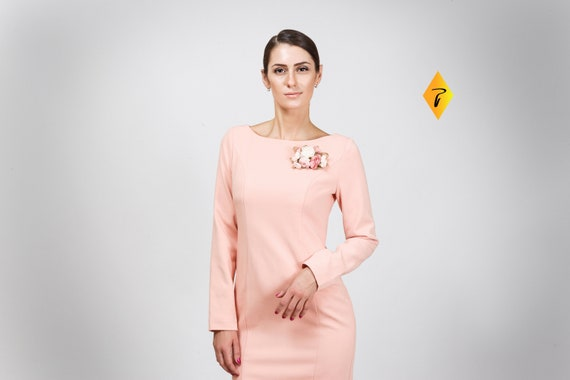 Rosa Bleistift Cocktailkleid Langarm Midi Kleider Fur Frauen Etsy