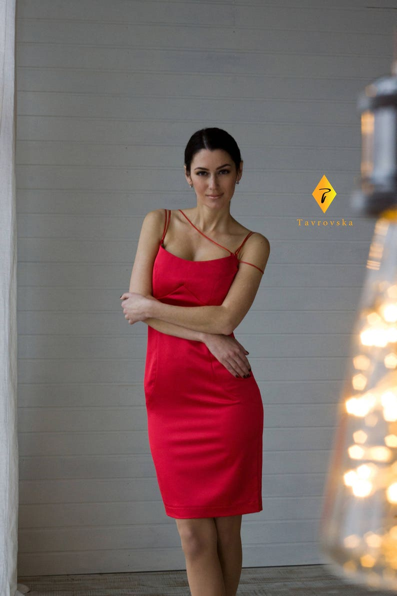 c117a12b2ee Red Cocktail Dress Satin Off the shoulder Pencil Dress Party