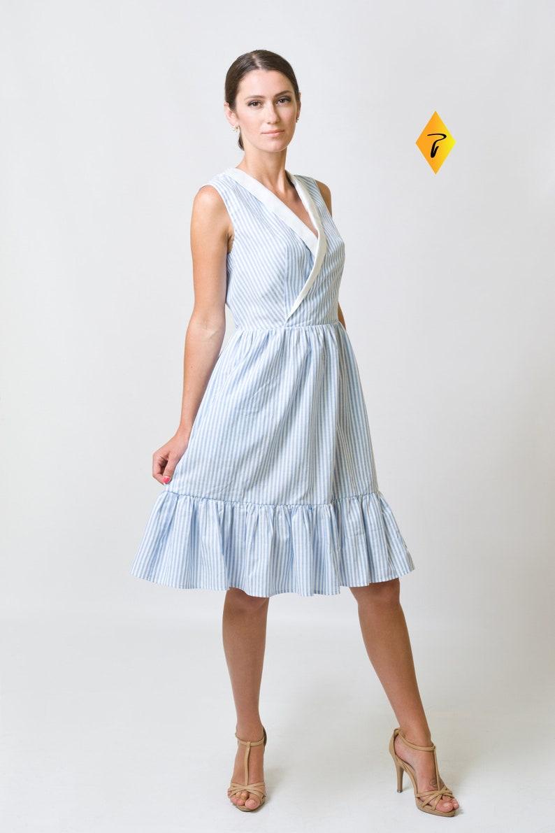 52851dd4c5e Blue Wrap Dress by TAVROVSKA Stripe Printed Sleeve-less