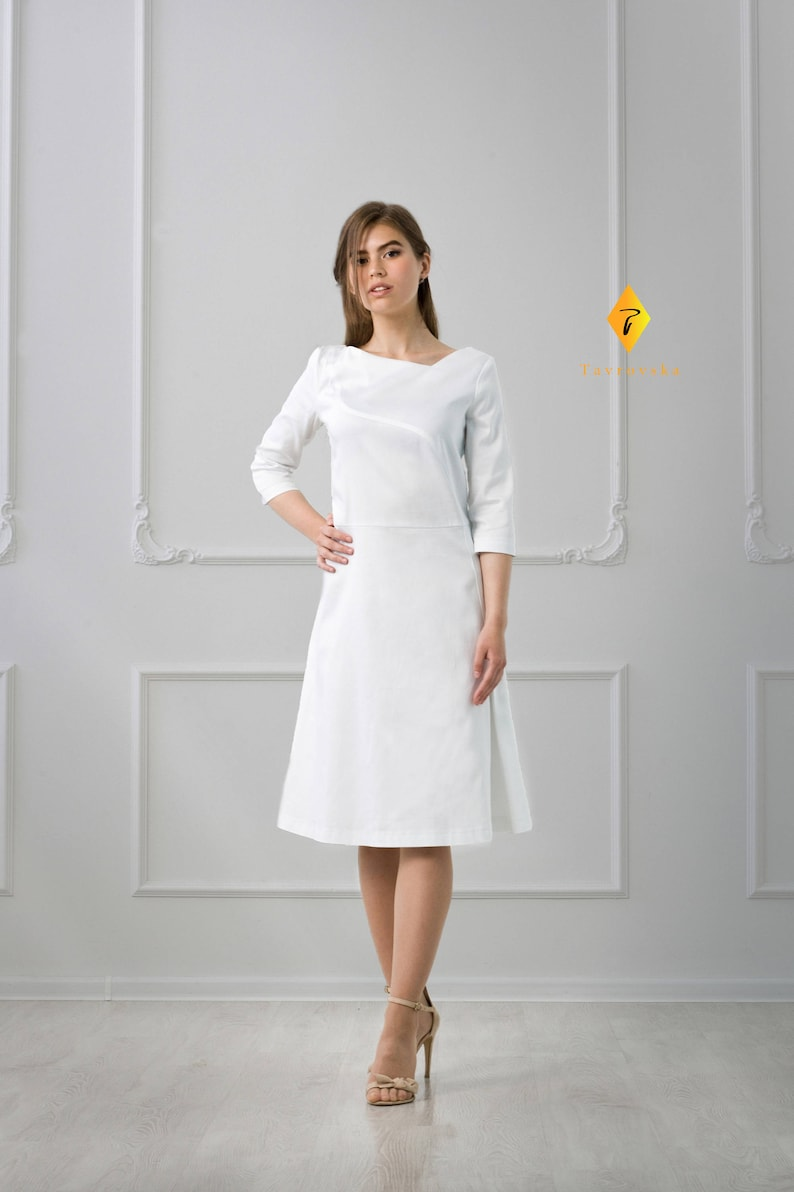 7608beccf White Summer Cotton Dress Flared midi formal modest Dresses | Etsy
