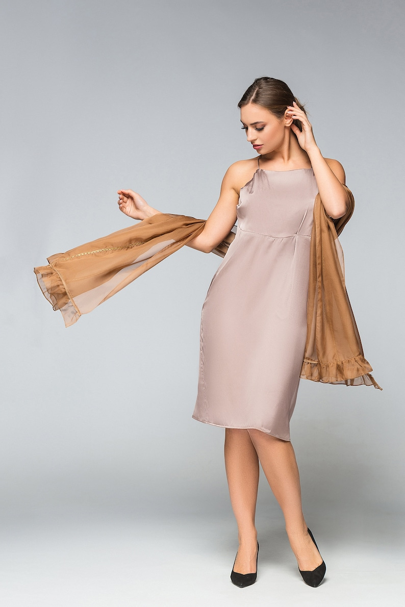 a33aa27089b Silk Slip dress with chiffon scarf Simple Cocktail Party