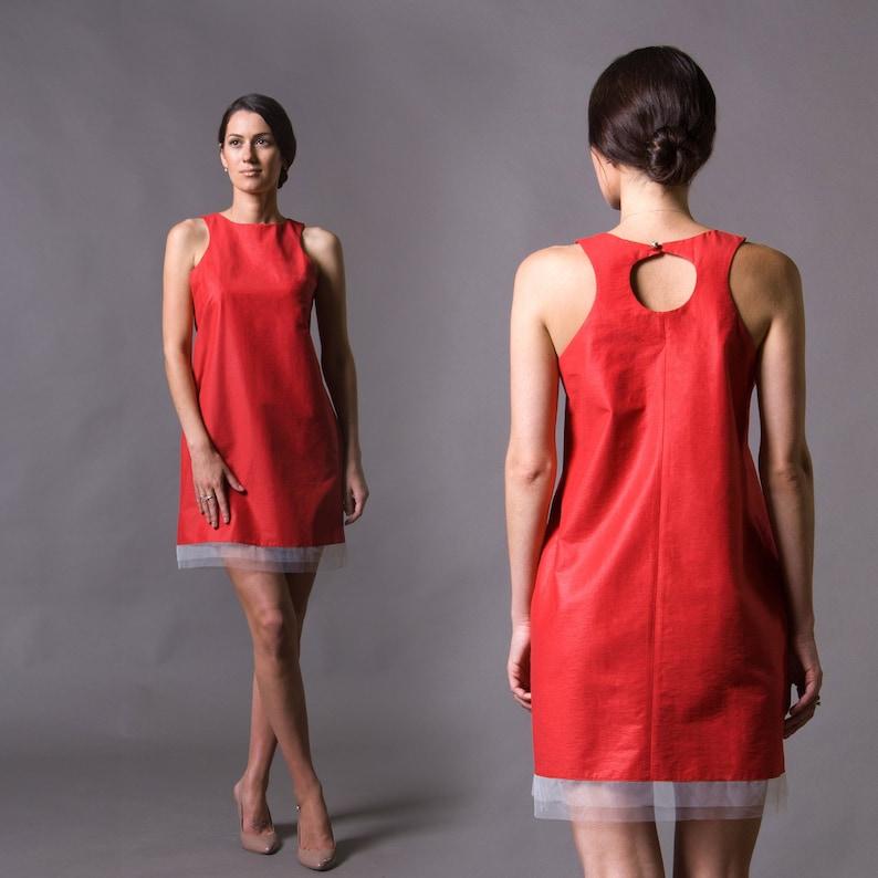 1bd62cbf258 Red Mini Cotton Sundress with tulle Shift Sleeveless summer