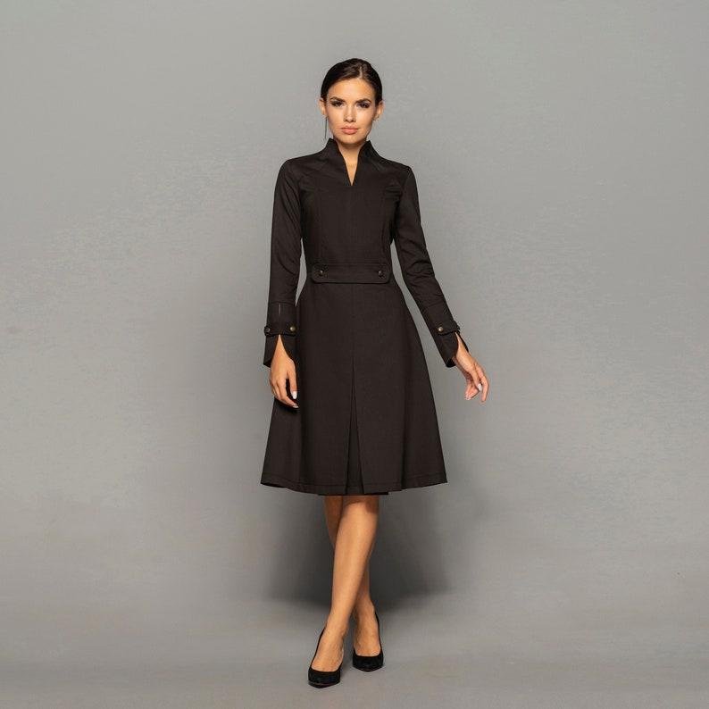 Black high neck midi dress women Long sleeve structured image 0