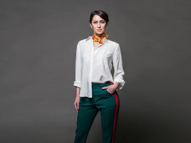 61f9fcec444 White Longsleeve Hidden Buttons shirt with cuffs Summer
