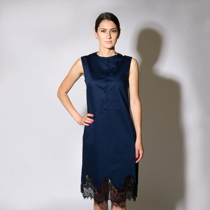 e1dac93a999 Cotton Shirtdress with lace bottom Navy Blue Lace Dress Midi