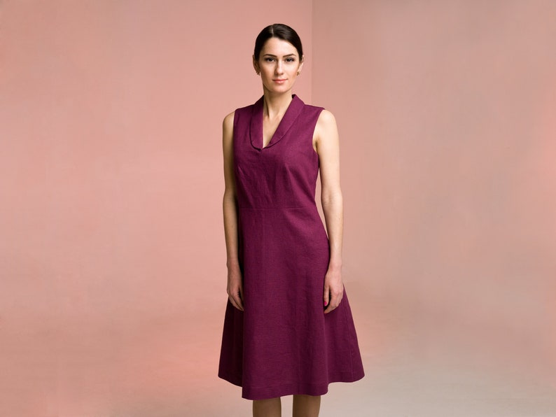 d0491061cc2 Purple Linen Dress with pockets Shawl V-neck Casual flared