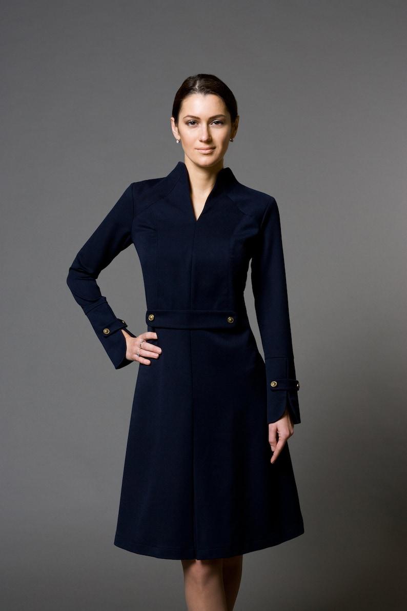 8a72da777bf3 Blue Cocktail Dress Long Sleeve Office dresses for women | Etsy