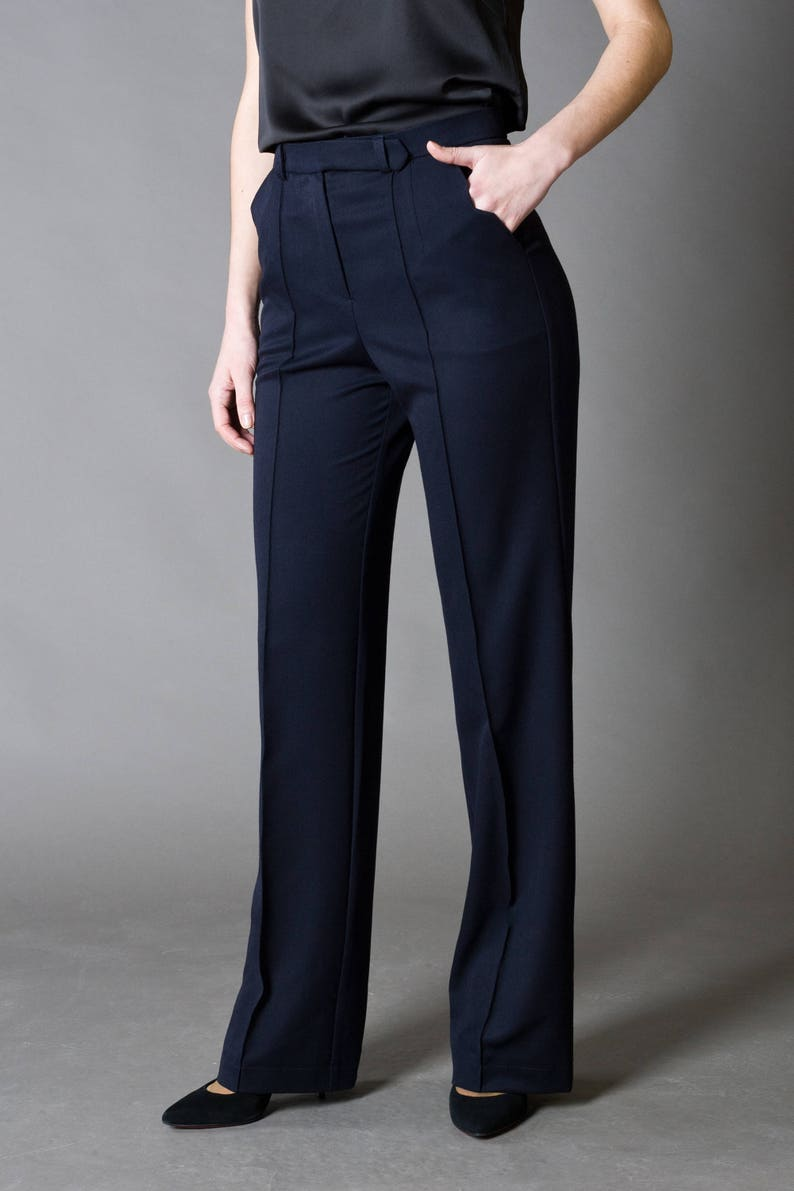 ab7424d3299 Navy Blue Formal straight Trousers Work Classic Pants