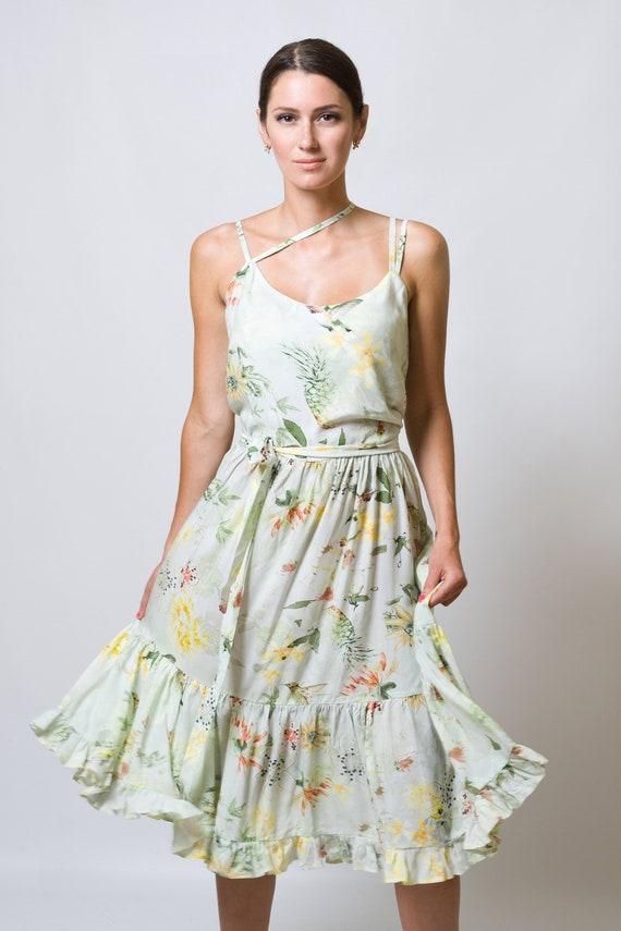 26fcbab897c Summer Floral Printed Viscose Strap Dress Flower women dress
