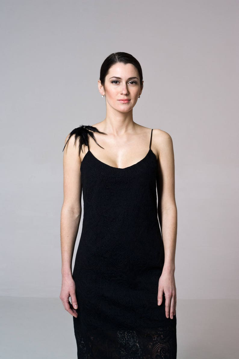 b6c2afc197d Black Camisole dress with feathers brooch Gatsby Lace Little