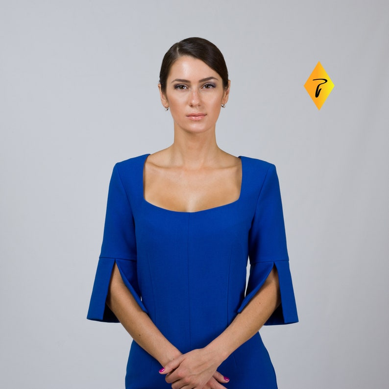Blue Cocktail Dresses For Women Wedding Guest Dress Party Midi Square Deep Neck Dress Fitted Pencil Prom Dress With Slit Tavrovska