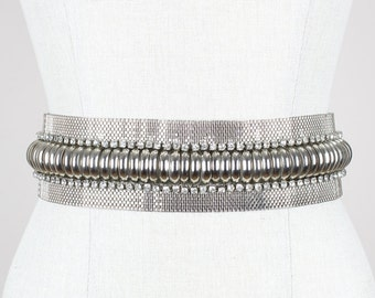 GIANNI VERSACE Rare 1980s Silver Metal and White Leather Waist Belt with Rhinestones