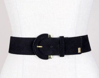 b558a4ff6c6 YSL Yves Saint Laurent 1990s Black Suede Waist Belt With Gold Tone Accents  & Logo