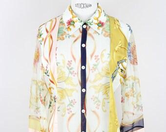 Salvatore FERRAGAMO 1990s Vintage Blouse Top Floral   Animal Print Loose  Fit Semi-Sheer Silk Off-White Yellow Size S-M 6e13067f16434