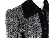 YSL Yves Saint Laurent Rive Gauche 1980s Grey Faux Fur Persian Lamb Astrakhan Coat Jacket With Black Velvet Trim Size S-M